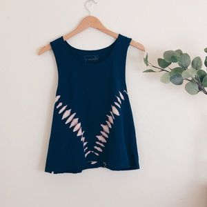 Free People Navy Cropped Muscle Tank Top